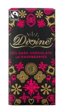 Divine Fairtrade Dark Chocolate With Raspberry Bits 90g